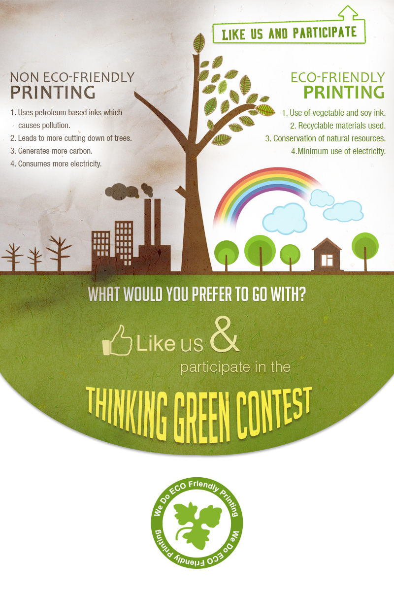 Facebook Welcome Page For A Greem Printing Campaign