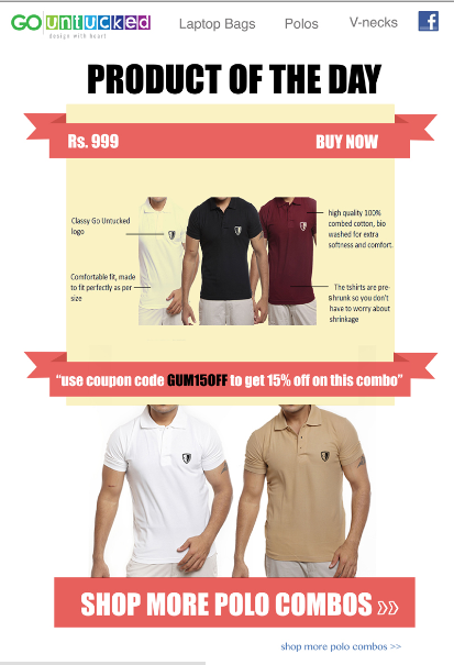Newsletter Promoting Combo Offers For An Apparel Ecommerce