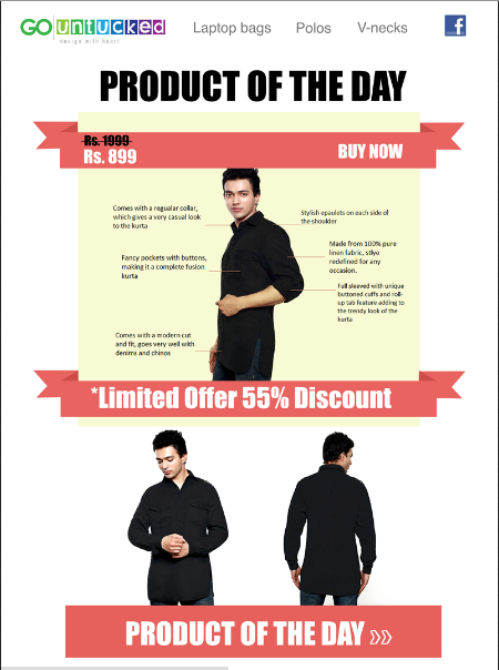 Newsletter Offering Product Of The Day & Discount For A Apparel Ecommerce