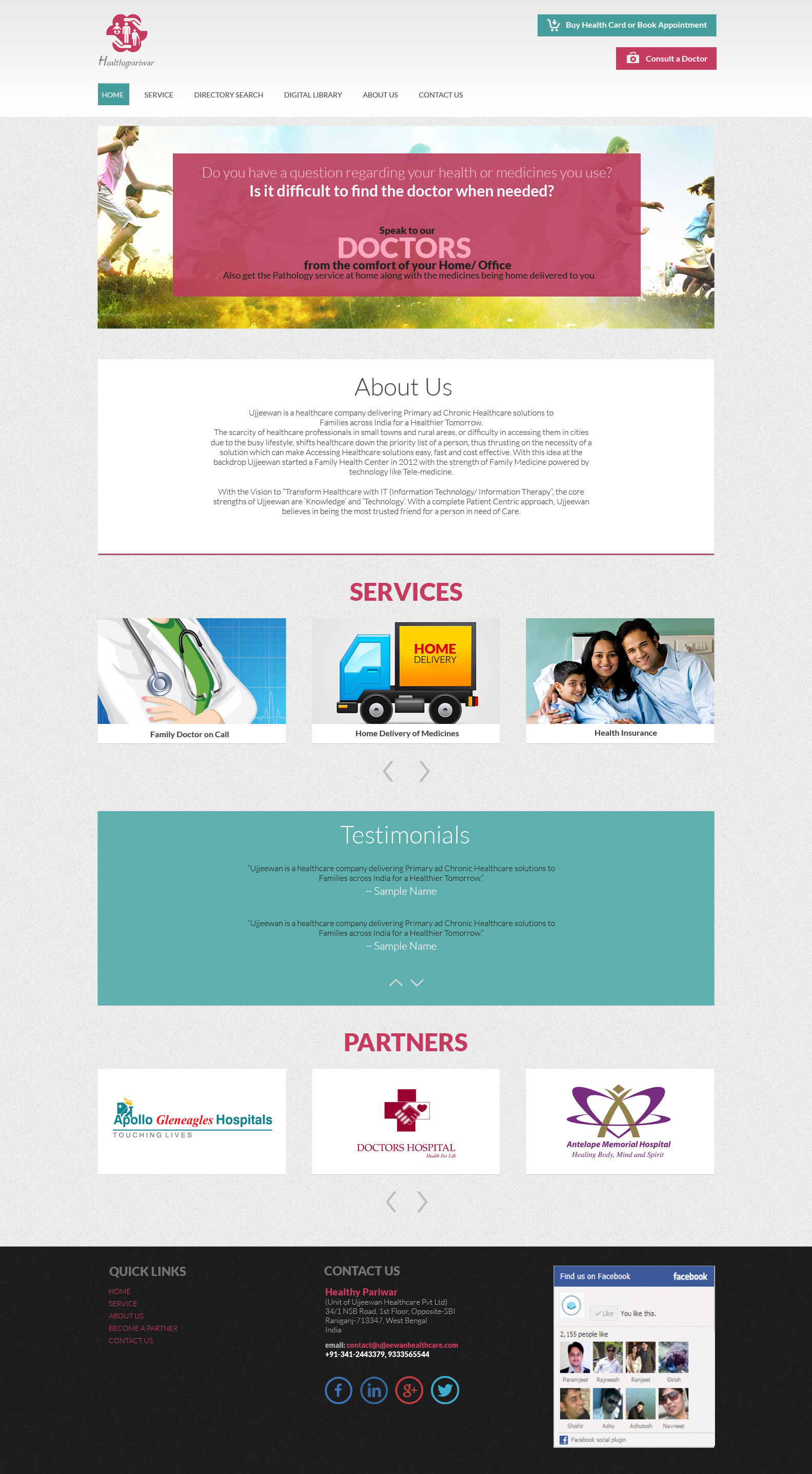 Landing Page For A Tele Health Service Provider